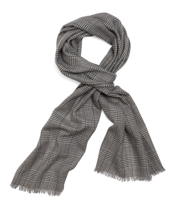 Merino Wool Glen Plaid Scarf Black Multi