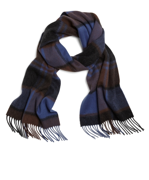 Lambswool Open Plaid Scarf Blue Multi