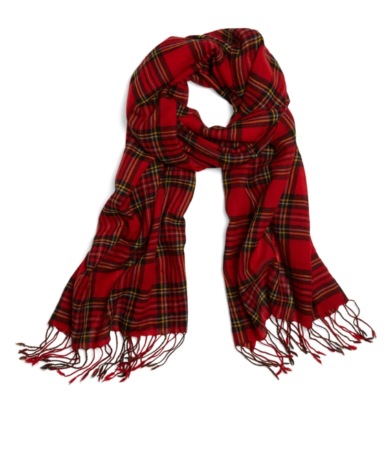 Wool Stewart Tartan Scarf Red Multi