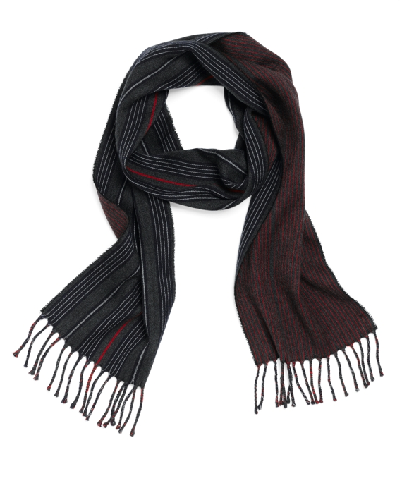 Wool Double-Faced Mini Stripe Scarf Grey Multi