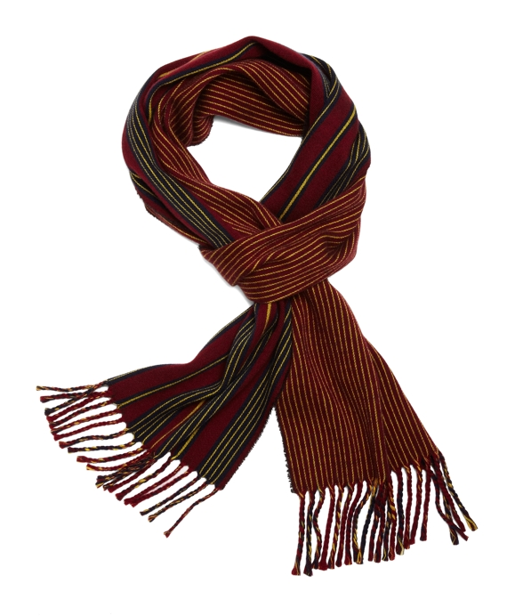 Wool Double-Faced Mini Stripe Scarf Red Multi
