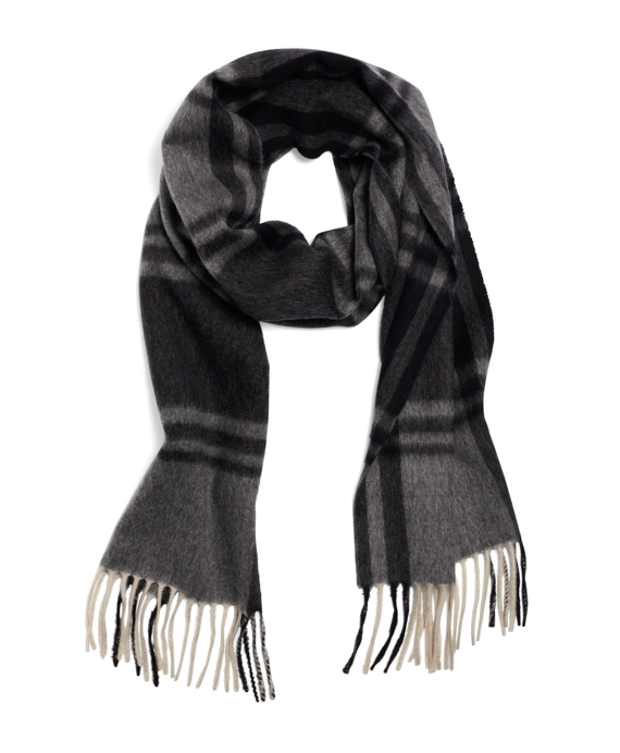 Lambswool Tonal Heather Plaid Scarf Grey Multi