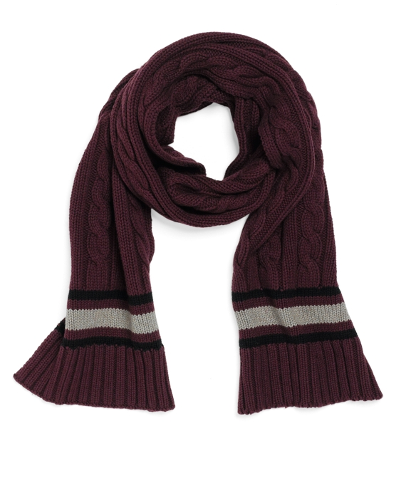 Cable Knit Cricket Scarf Burgundy