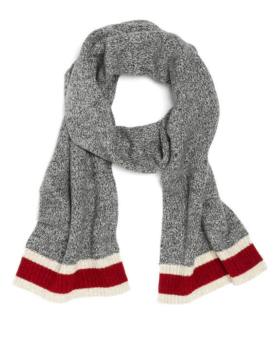 Lambswool Knit Scarf Grey-Red