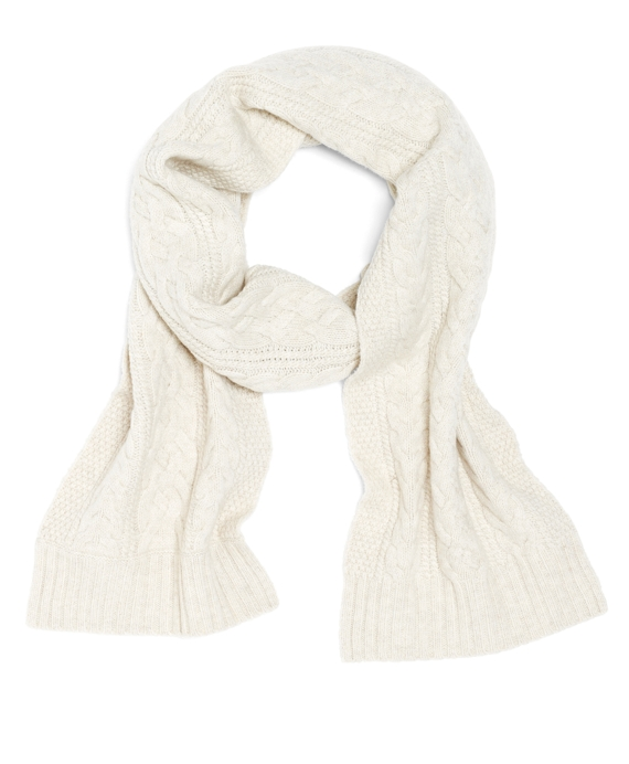 Saxxon Wool Cable Knit Scarf Ivory