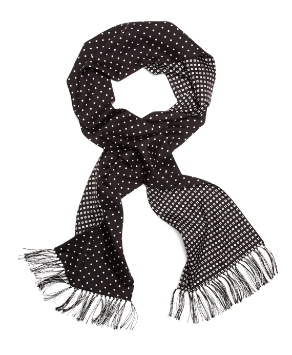 Silk Polka Dot Formal Scarf Black-White