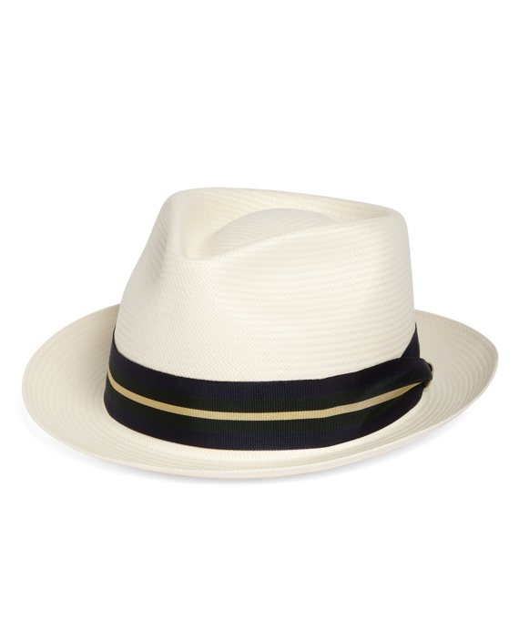 Straw Stetson Fedora with Navy and Green Ribbon Natural