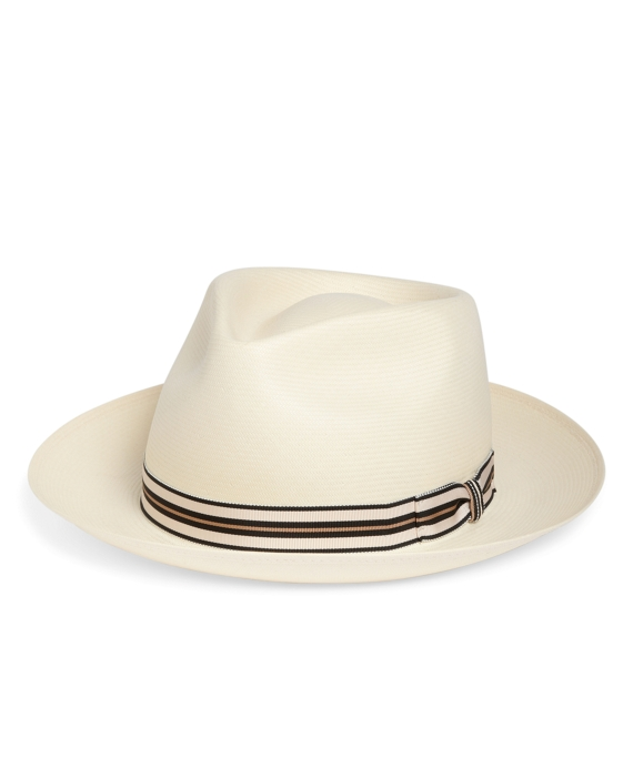 Straw Stetson Fedora with Grosgrain Ribbon Natural