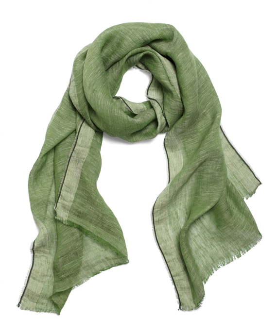 Chambray Linen Scarf Green