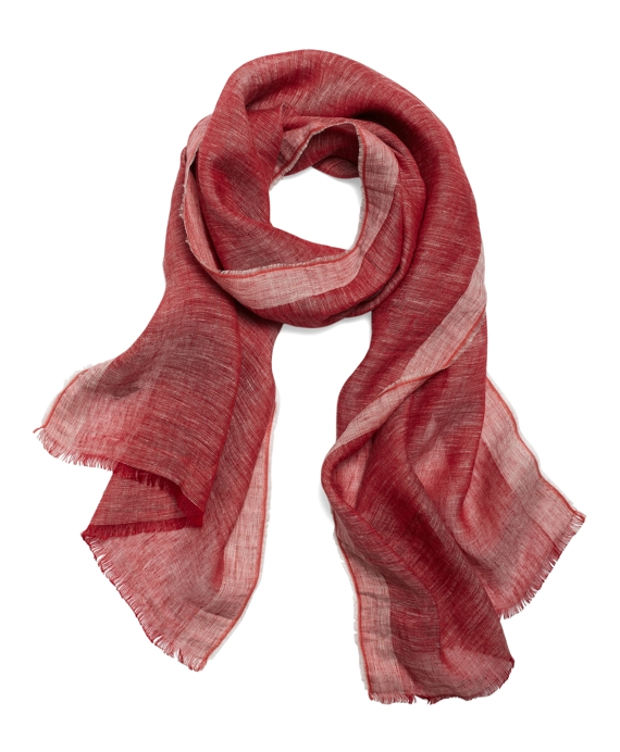 Chambray Linen Scarf Red