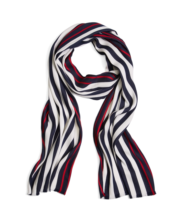 Bold Stripe Cotton Scarf White-Navy