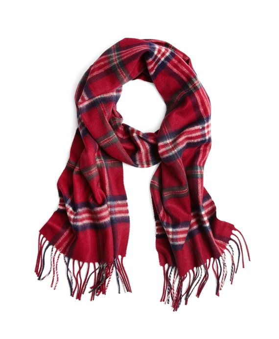 Signature Tartan Cashmere Scarf Red-Navy