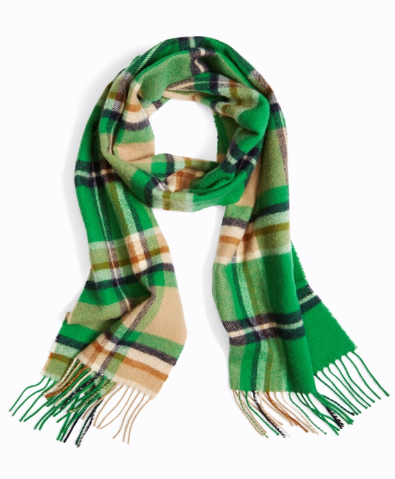 Wool Plaid Fringed Scarf Green