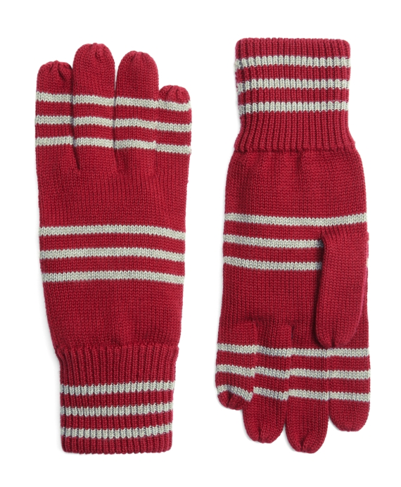 Cotton Rugby Stripe Gloves Burgundy-Grey