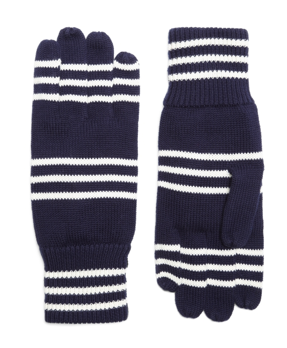 Cotton Rugby Stripe Gloves Navy-Ivory