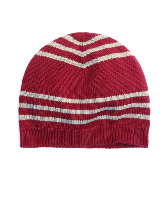 Cotton Rugby Stripe Hat Burgundy-Grey