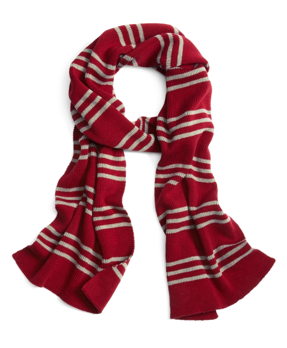 Cotton Rugby Stripe Scarf Burgundy-Grey