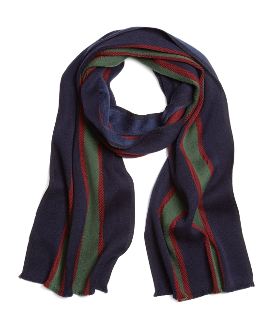 Double-Faced Merino Bold Stripe Scarf Navy-Green
