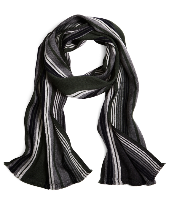 Double-Faced Merino Multi Stripe Scarf Green-Grey