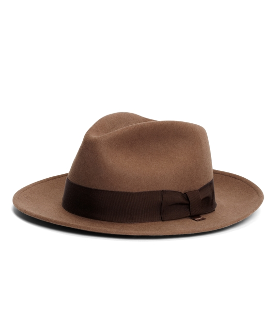 Wool Crushable Unlined Fedora Dark Camel