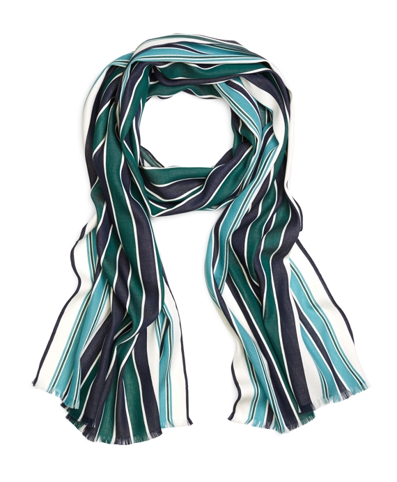 Light Blue, Red and White Nautical Stripe Cotton Scarf Green-Navy