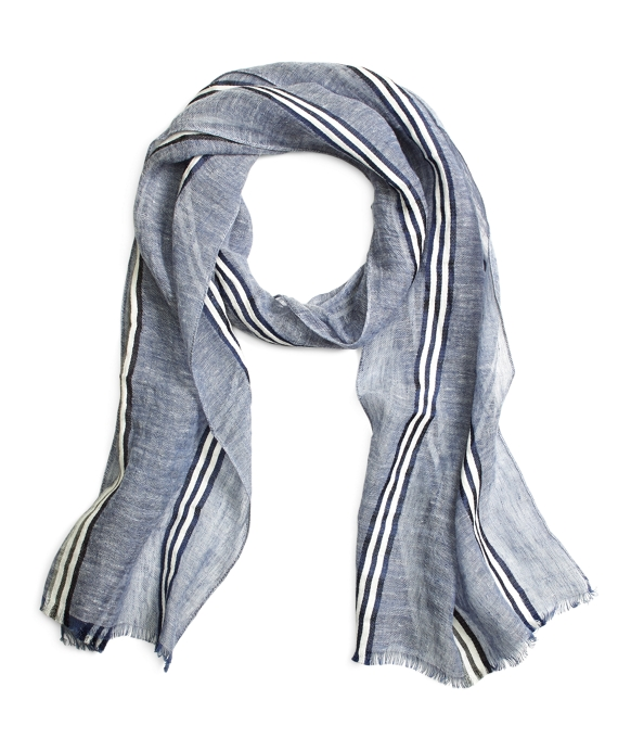 Navy and Grey Washed Stripe Linen Scarf Navy-Grey