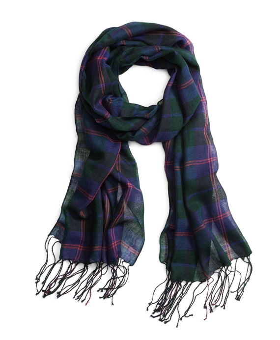 Plaid with Double Stripe Scarf