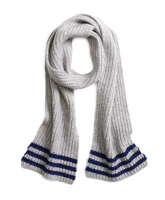Tipped Cashmere Knit Scarf Grey