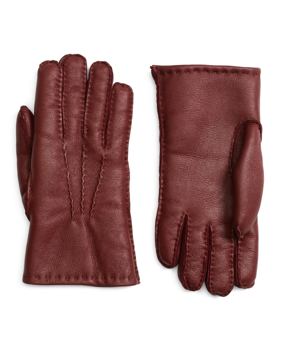 Shearling Gloves Burgundy