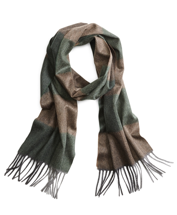 Cashmere Color-Block Scarf Green
