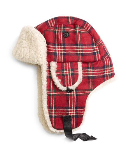 Brooks Brothers Signature Tartan and Shearling Trapper Hat