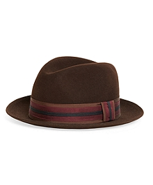 Wool Fedora with Stripe Ribbon