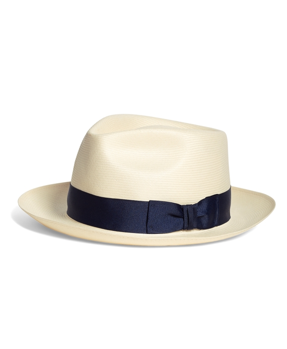 Straw Fedora Natural-Navy