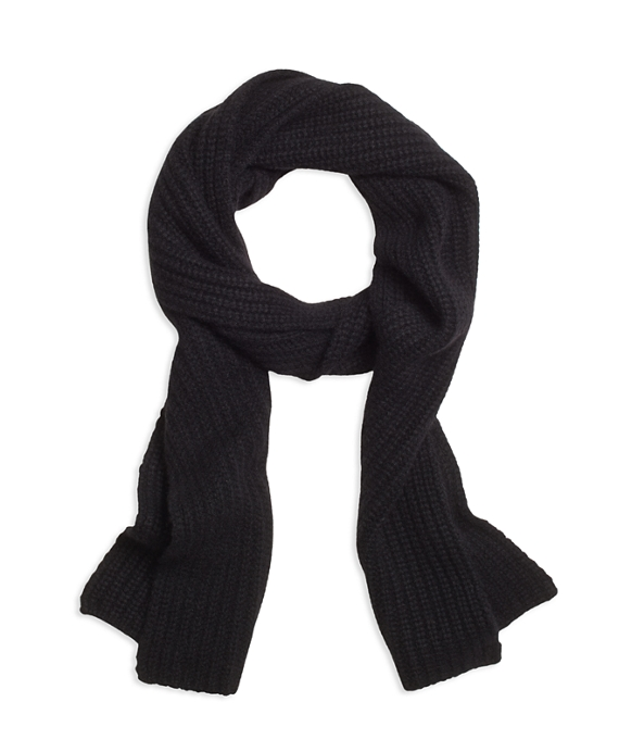 Ribbed Cashmere Scarf Black