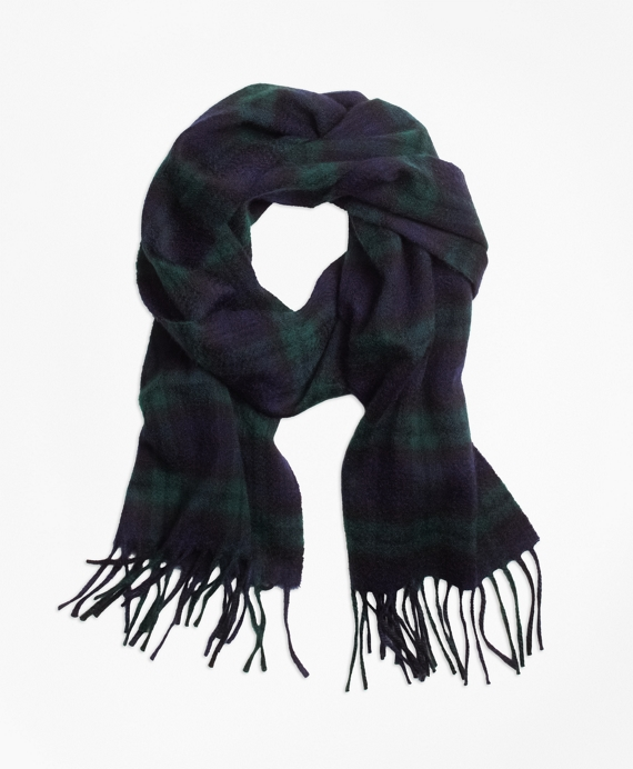 Cashmere Black Watch Scarf Black-Green