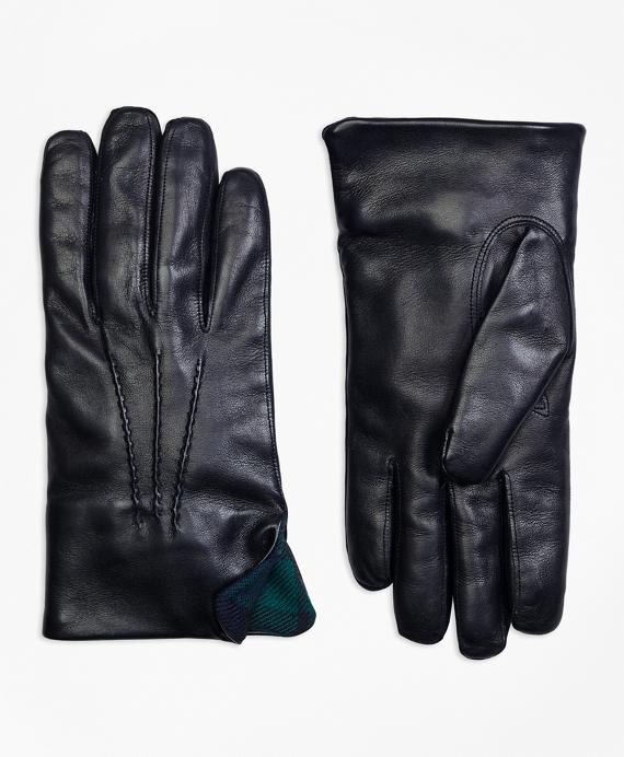 Leather Gloves with Black Watch Cuffs Navy-Green
