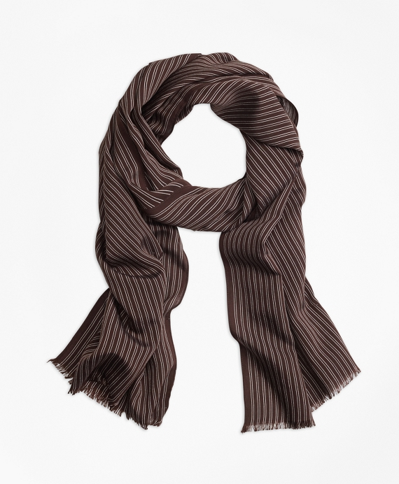 Double-Pinstripe Scarf Brown