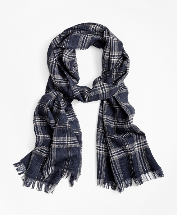 Brooks Brothers Signature Tartan Scarf Navy
