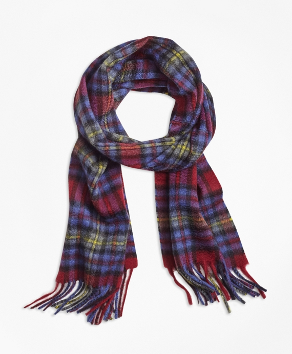 Plaid Cashmere Scarf Burgundy-Blue-Yellow