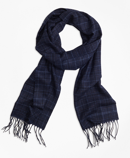 Brooks Brothers Saxxon Wool Plaid Scarf