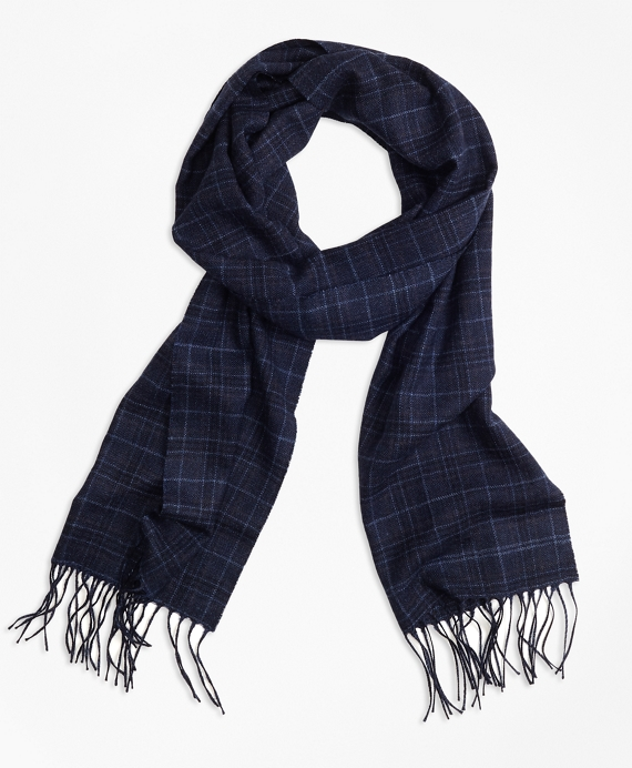 Saxxon Wool Plaid Scarf Navy
