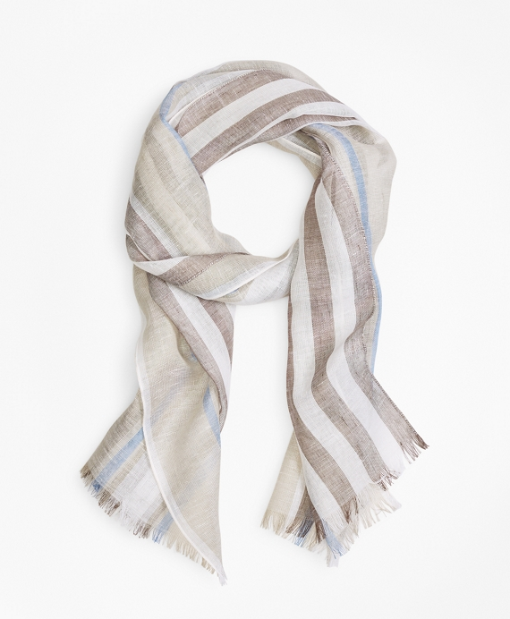 Tonal Stripe Scarf Tan-Blue