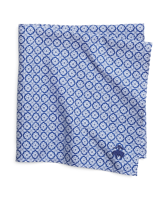 Foulard Print Pocket Square Navy