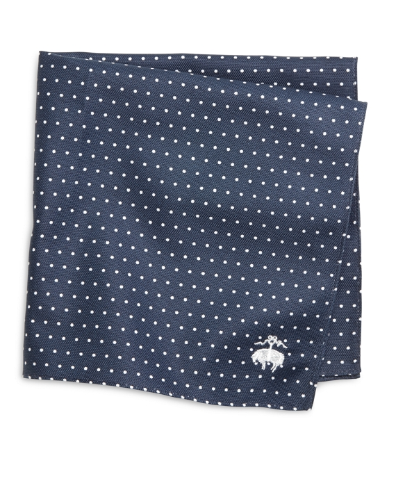 Dot Print Pocket Square Navy