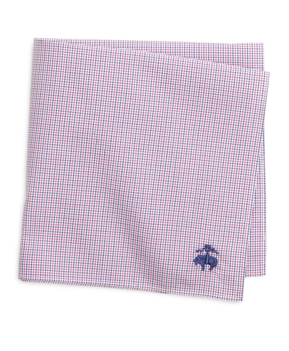 Micro Tattersall Pocket Square Pink