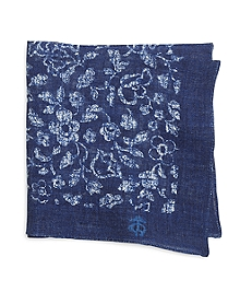 Linen Floral Print Pocket Square