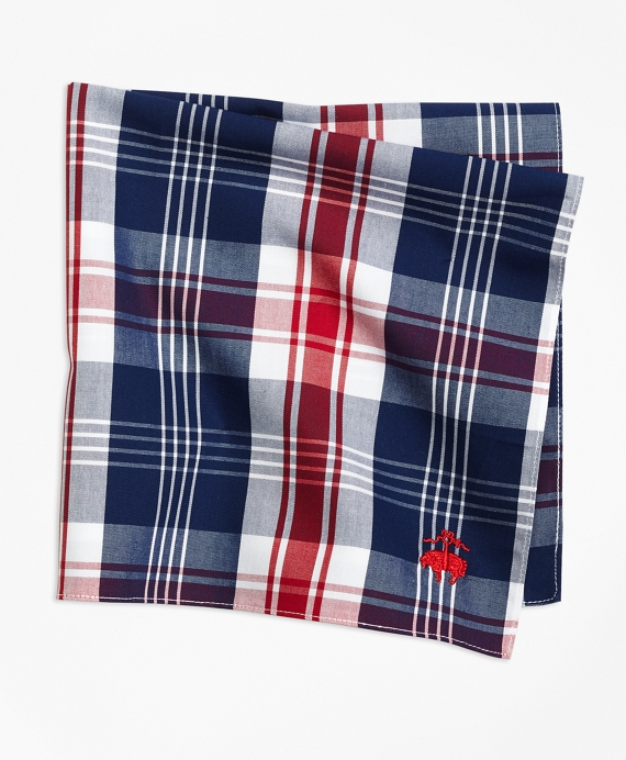 Bold Plaid Pocket Square Red-White-Blue