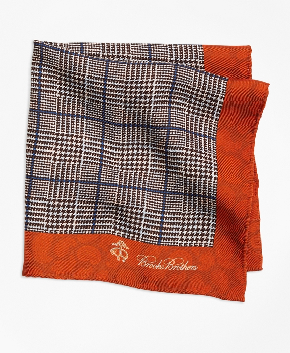 Plaid and Paisley Pocket Square Orange
