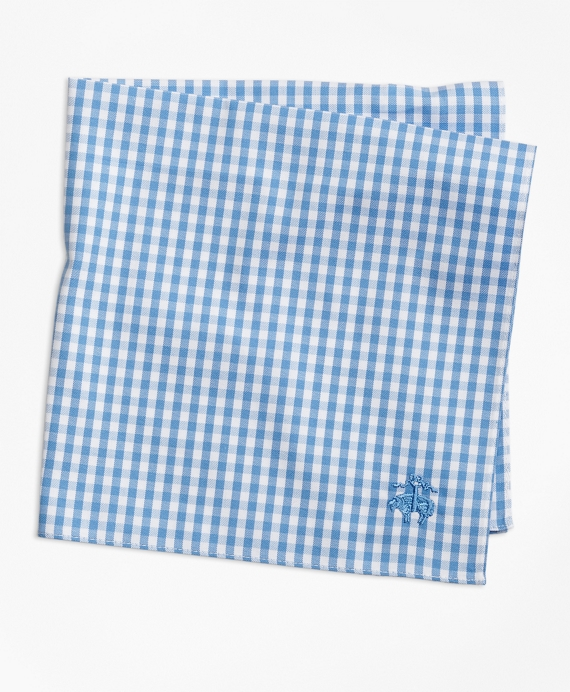 Supima® Cotton Gingham Pocket Square Blue