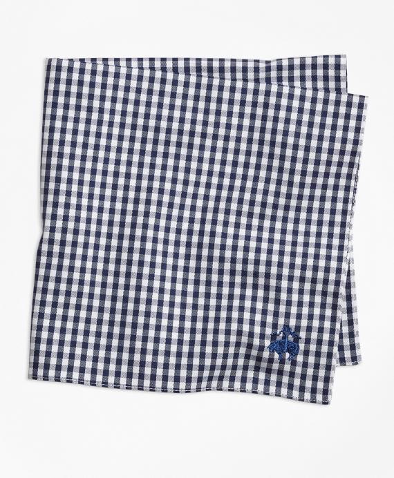 Supima® Cotton Gingham Pocket Square Navy